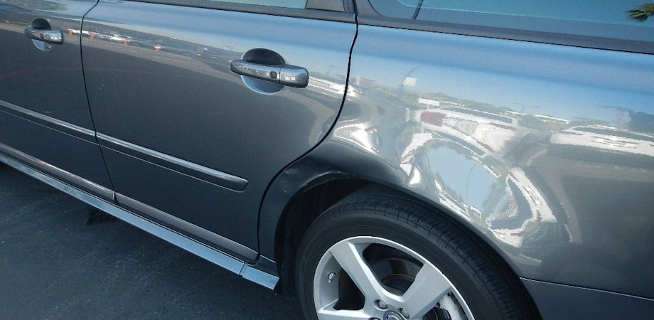 2011 Volvo V50 Wagon Left Quarter Panel Damage: $3000. The rear door also had to be dismantled and repainted for a proper color match. The dent was $900 of the total cost, which also included a new tire and wheel alignment. Downtime was 13 working days.